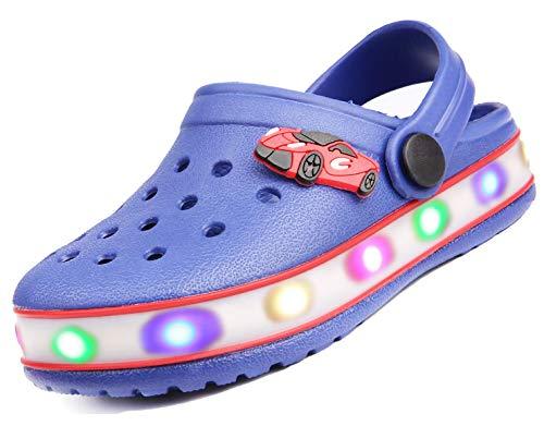 Kinder Jungen Mädchen LED Clogs Süße leichte Sommer Hausschuhe Garden Beach Sandalen Blue 28 EU