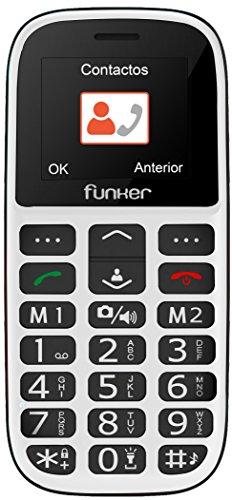 Teléfono Móvil Funker - C65 Blanco Easy Plus- para Personas Mayores con botón...