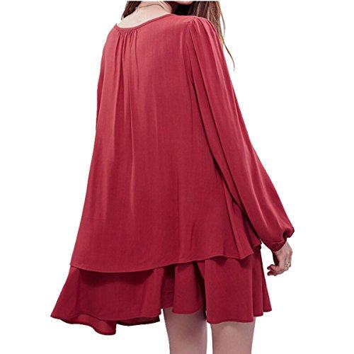 Latinaric Sexy Robe Courte D'éte Lache Noir Blanc Rouge Avec Manche Longue Rouge