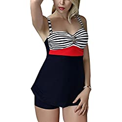 FEOYA - Bañadores Mujer Talla grande Traje de Baño de 2 piezas Estampado Rayado Ropa de Natación Vintage Retro Backless Swimsuit - Rojo - Talla asiática XXXL (ES 42-44)