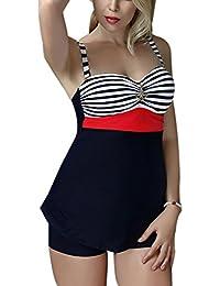 FEOYA - Bañadores Mujer Talla grande Traje de Baño de 2 piezas Estampado Rayado Ropa de Natación Vintage Retro Tankinis Swimsuit para Playa - Rojo Verde - Talla asiática XL XXL 3XL 4XL 5XL