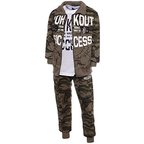Camouflage Sportanzug Kinder 3 Tlg. Set Hoodie Sporthose T-Shirt 21770, Farbe:Braun, Größe:176 (Jungen-sale)