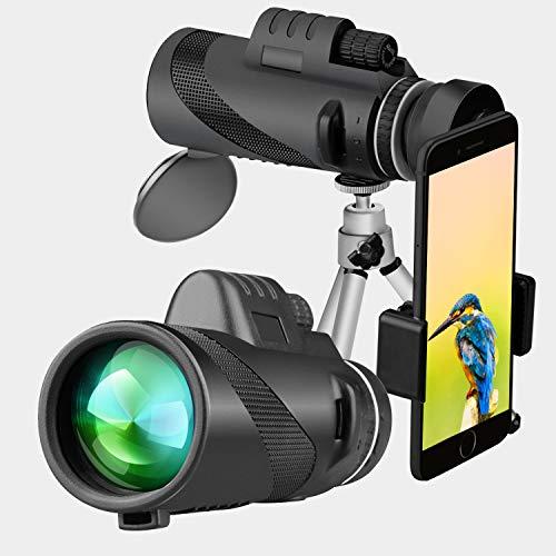 r Monokular Teleskop Wasserfeste Zielfernrohr mit Quick Smartphone Adapter und Stativ für Vogelbeobachtung, Wildlife, Reisen, Konzert, Sport ()