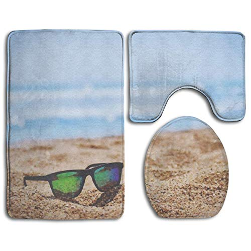 NFHRRE Wayfarer Sunglasses On Beach Sand During Daytime Toilet Carpet,Fashion Bathroom Rug Mats Set 3 Piece Anti-Skid Pads Bath Mat + Contour + Toilet Lid Cover