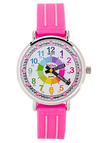 Kinderuhr Armbanduhr für Mädchen DIE UHRZEIT LERNEN (12- & 24- Uhr), wasserfest, hohe Qualität Seiko Mechanismus, Sony Batterie, in Geschenk-Box, erster Time Teacher, Rosa