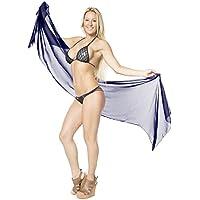 La Leela Super Donne Velate Leggeri Chiffon Pannello Esterno Dell'Involucro Del Bikini Pianura Costumi Da Bagno Estate Metà Spiaggia Sarong Pareo Coprire 72X21 Pollici