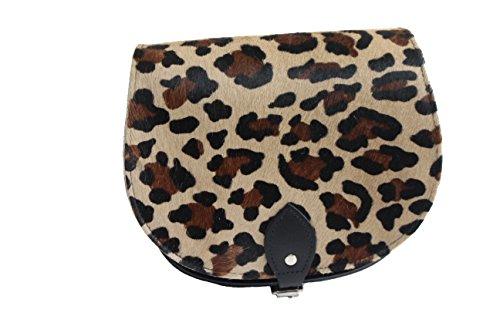 Pelle bovina reale cuoio Croce borsa corpo con fibbia di chiusura e tracolla regolabile Leopardo Cowhide