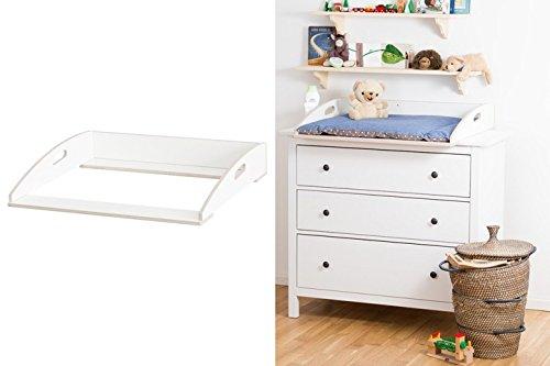 Preisvergleich Produktbild Designer Wickelaufsatz mit Griffen für Ikea Hemnes Kommode extra stabiles Holz (keine Spanplatte) Wand- u. Kommodenbefestigung runde Ecken Kippschutz Wickelauflagen Breite 77 (passgenau) und 80 cm