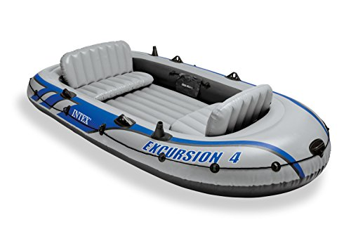 Intex Excursion 4 - Set de barco hinchable y 2 remos, 315 x 165 x 43 c