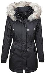 ONLY Damen Parka Winterjacke Kurzmantel Kapuzenjacke Wintermantel (40 (Herstellergröße: L), Black)