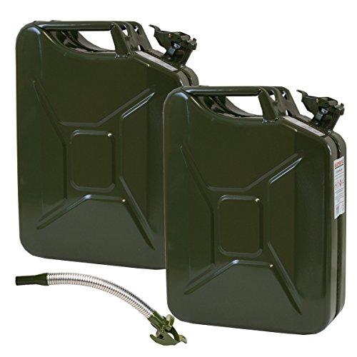 2er Set: 2 Stahlblechkanister in Oliv mit je 20 Liter INKLUSIVE Auslaufstutzen