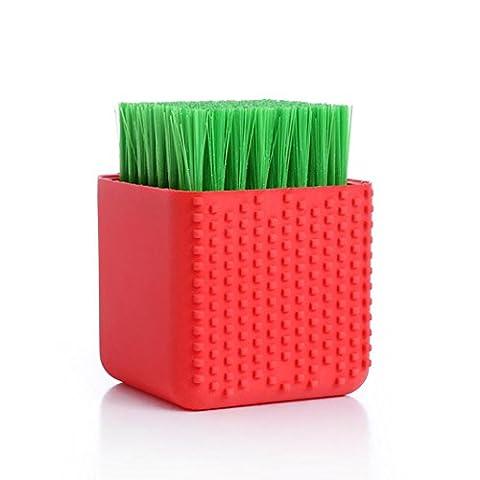 Igemy en pot multi-usage Ménage Plastique en silicone Brosse à linge Vêtements Chaussures Brosse Red