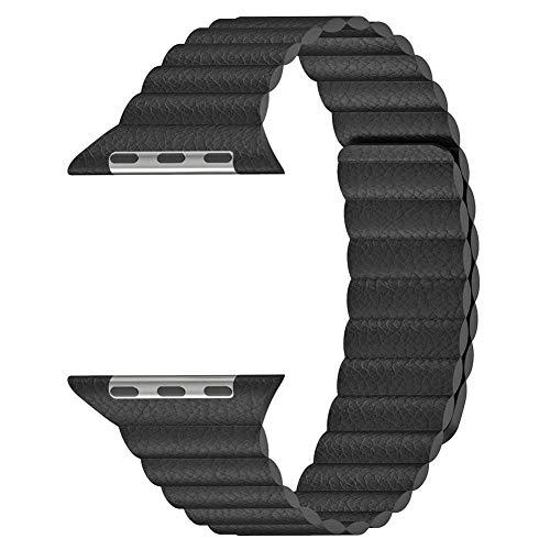 Globeagle Magnetic Leather Loop Uhrenarmband Armband Wrist Band Ersatz für Apple Watch iWatch Serie 4 44mm (Schwarz) - 22mm Nylon-loop-uhr-band