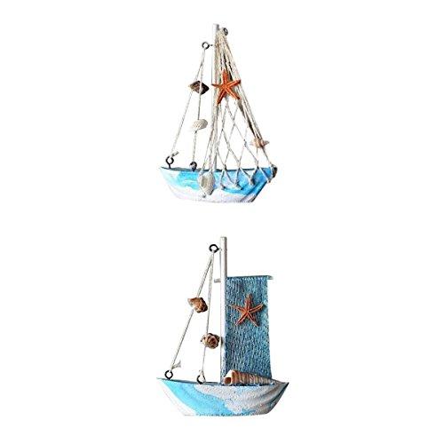 LOVIVER 2 Stücke Holzschiff Modell Miniatur Marine Holz Maritime Boot Nautischen Segelschiff Home Desk Dekoration Dekor Handwerk