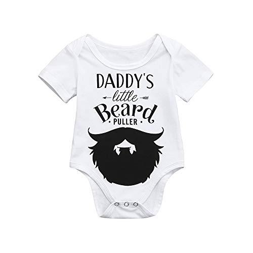 Neugeborene Kinder Baby Kleidung, Evansamp Niedlichen Brief Bart Drucken Strampler Schöne Jungen Mädchen Kurzarm Outfits Kleidung Overall(Weiß,80)