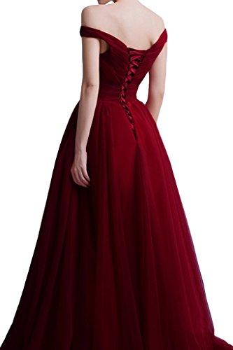 ivyd ressing Femme à partir de la épaules A ligne V de la découpe Prom robe robe de bal robe du soir Rouge - Rouge bordeaux