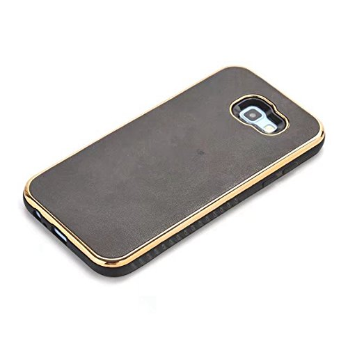 Ultra Thin und leichte Retro verrückte Pferd Leder Skin Dual Layer PC + TPU Hybrid Shell Cover Case [Shockproof] für Samsung Galaxy A5 2017 und A7 2017 ( Color : Gray ) Black