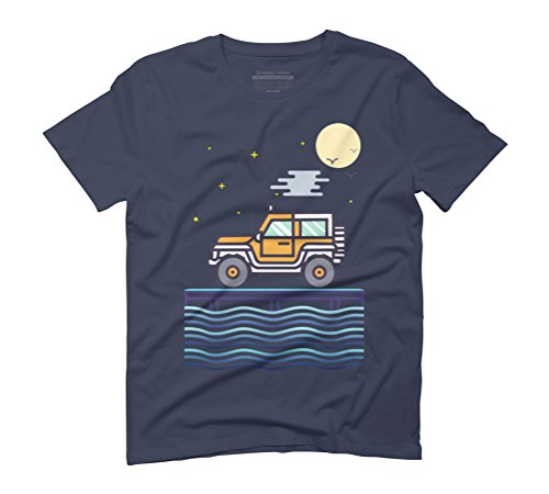 Night Traveller by the Moon Light Men's Graphic T-Shirt - Design By Humans Navy