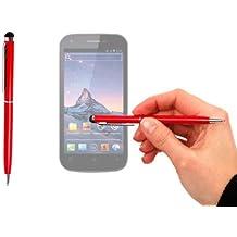 Stylet + stylo bille rouge chic 2 en 1 haute précision pour écran tactile de Smartphone Wiko Darkfull, Darknight et Darkmoon