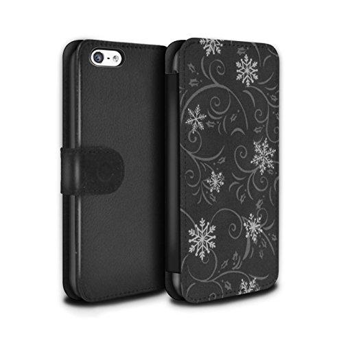 Stuff4 Coque/Etui/Housse Cuir PU Case/Cover pour Apple iPhone 5C / Pack (7 pcs) Design / Motif flocon de neige Collection Noir