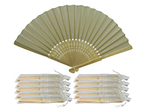 Rangebow SHF07 Ivory Lot de 10 gros éventail en soie Bambou côtes cadeau mariage dragées