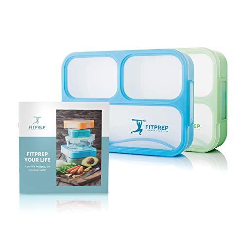 FITPREP® Premium Lunchbox Bento Set für Kinder & Erwachsene I 2 Stück I Meal Prep I Bento Box I 3 Fächer I Auslaufsicher - Jede Kammer untereinander I BPA frei - inkl Ebook