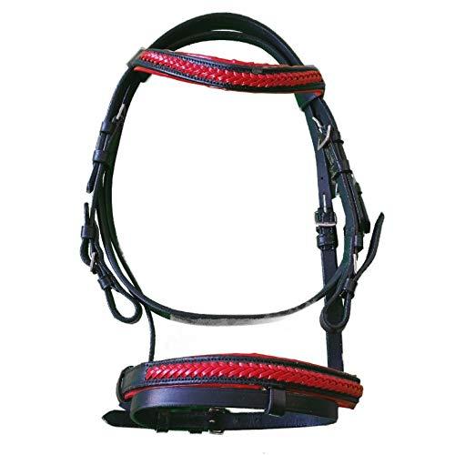 netproshop Englisch Leder Trense mit Anti-Rutsch-Zügel für die Kleinen, Groesse:Mini Shetty, Farbe:Rot