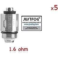 100% ORIGINAL - Lote de 5 resistencias JUSTFOG 1.6 ohmios AUTHENTIC compatible Q16 / Q14 / C14 / G14 / S14 - Código de seguridad comprobable en el sitio JUSTFOG