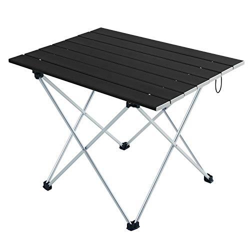 CamGo Tragbarer Campingtisch mit Aluminiumlegierung, zusammenklappbar, tragbarer Tisch mit Tragetasche für Outdoor, Camping, Picknick, Strand, Angeln, Kochen, Schwarz