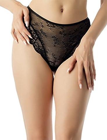 iB-iP Femme Dentelle Voir À Travers Les Mailles Mid Taille Sous-Vêtement String, Taille: XL, Noir