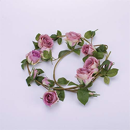 CULASIGN 2pack Künstliche Blume Rosen Hängende Girlanden Kunstseide Simulation Reben Dekoration Blätter Dekor Hochzeit Party Garten 153cm