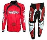 WinNet Completo tuta maglia e pantaloni da cross motard rosso, Taglia: M