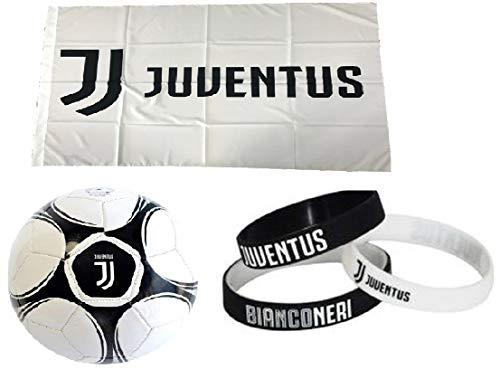 Giemme kit tifoso juventus n 2 juve bianconeri-pallone da calcio di cuoio juventus + bandiera ufficiale 135x95 cm + 3 braccialetti della juventus
