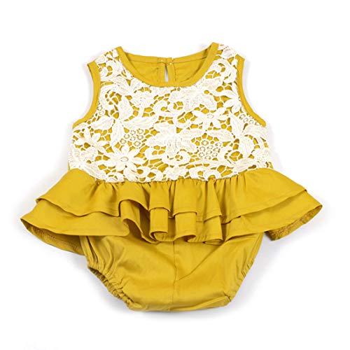 UICICI Baby Strampler Sommer Overall Boutique Rüschen Kleidung Outfit für Kinder Mädchen (Color : Yellow, Size : 80)