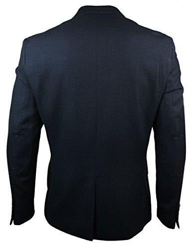 Veste blazer cintré pour homme bleu marine rebords marron clair chic décontracté chevrons Bleu Marine