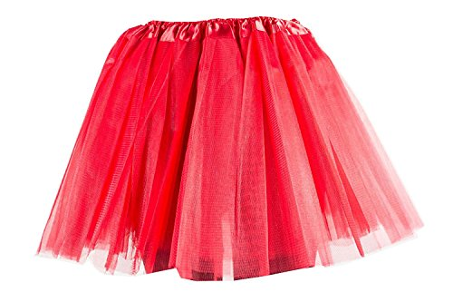 Damen Tütü Tutu Minirock Petticoat Tanzkleid Ballettrock Pettiskirt Unterrock in verschiedenen Farben (Tutu Rot)