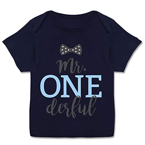 Geburtstag Baby - Mr. One Derful Schleife - 56-62 (2/3 Monate) - Navy Blau - E110B - Kurzarm Baby-Shirt für Jungen und Mädchen