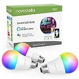 Novostella 9W 810LM, Lot de 3 Ampoule Connectée WiFi, E27 LED, RGBCW 2700K-6500K Dimmable, Compatible avec Alexa Google Home IFTT, Lampe d'ambiance Couleur Intelligente, Équivalent 75W