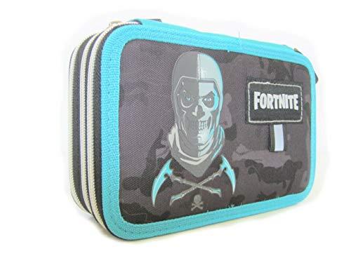 Fortnite - Estuche escolar con 3 cremalleras, color azul