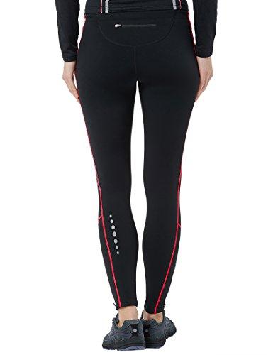 Ultrasport Damen Laufhose gefüttert mit Quick-Dry-Funktion lang, black red, M, 380100000210 - 2