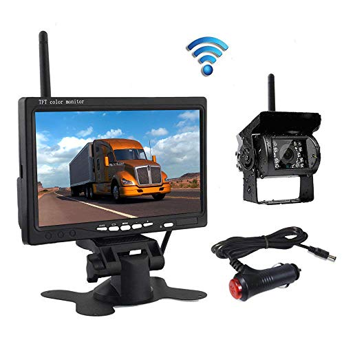 """podofo Wireless Reverse Camera, 7\"""" HD TFT LCD Vehicle Rear View Monitor + Waterproof Backup Camera Night Vision Parking System with Car Cigarette Lighter Charger for Truck RV Trailer(Nein Guide LINE)"""