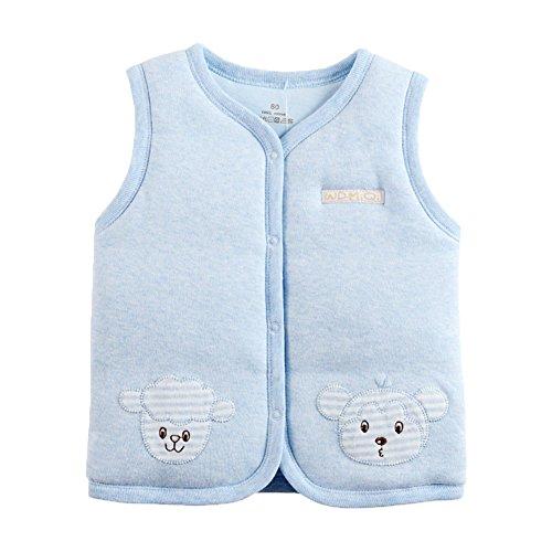Bambino organico caldo cotone gilet Unisex Neonato a bambino luce imbottita Gilet Lt.Blue 6-9 Mesi