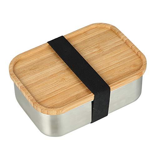 TLfyajJ 800ml Edelstahl Lunchbox mit Bambusdeckel Bento Sushi Snacks Container, plastikfrei, auslaufsicher   Geeignet Für Erwachsene Und Kinder   Silber (Planetbox-lunch-box)