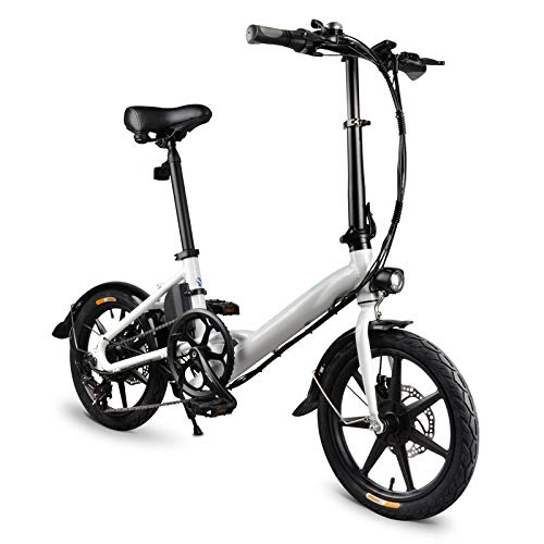 Electric Folding Bike,Folding Electric Bicycle,7.8Ah Folding Electric Bicycle Foldable Electric Bike, Electric Bicycle Bike Lightweight Aluminum Alloy 16 inch 250W Hub Motor Casual for Outdoor