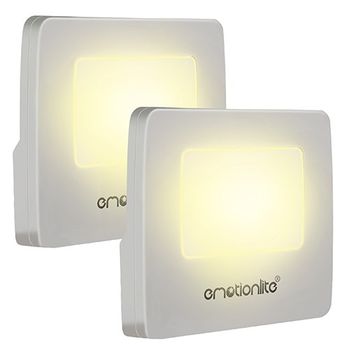 Emotionlite 2 Stück LED Nachtlicht mit Dämmerungssensor Kinder Nachtlicht Sehr gut für Kinderschlafzimmer Badezimmer Flur Treppenaufgang Korridor Schrank oder ein dunkles Zimmer Warmes weißes 2700 K