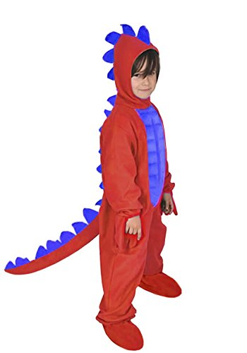 Kinder Kostüm Roter Drache - Dinosaurier Rot Dino Drache Kinder Kostüm 110 - 116 für Fasching Karneval Rummelpott Kinderkostüm