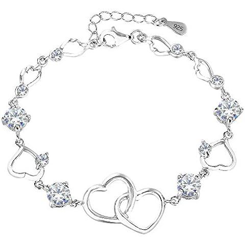 EleQueen 925 rotonda d'argento CZ Doppio cuore di amore del braccialetto di collegamento del Rhodium placcato, 6.5 Extender