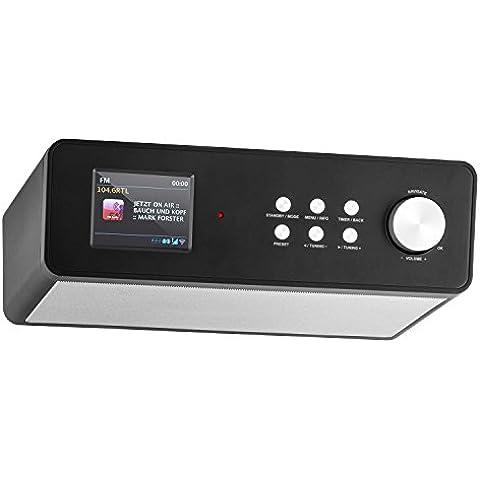 auna KR-200 radio de cocina digital (DAB+, conexión WiFi, 2 altavoces, sintonizador FM, RDS, MP3, WMA, alarma dual, mando a distancia, apto montaje bajo mueble, pantalla TFT) - negro