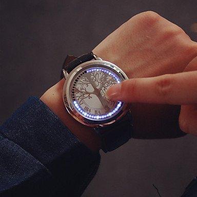 Große Zifferblatt führte Touch-Screen-Paaruhren Männer Luxusmarke Uhren Frauen kleiden Quarzuhren Vintage Studenten beobachten ( Farbe : Silber , Großauswahl : Einheitsgröße )