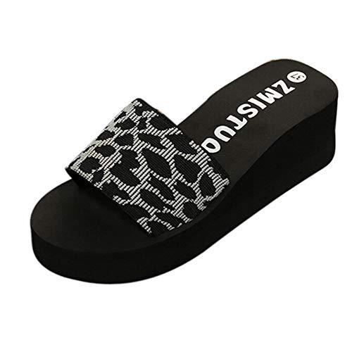 BaZhaHei Womens Ladies Flat Leopard Print Sliders Summer Sandals Slides Mules Comfy Slippers Slip on Round Toe Platform Wide Fit Walking Shoes Size 3.5-6.5 Gray